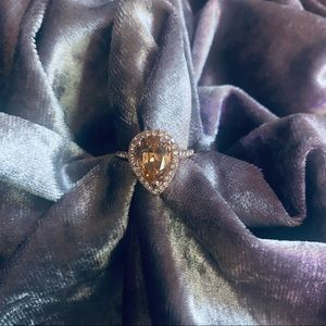 Rose gold with Pear Cut Champagne Color Stone Cocktail Ring / Costume Jewelry